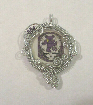 $15 • Buy Grateful Dead Steal Your Face Skull N Bear Pendant Silver Weaved Wire Wrapped 12