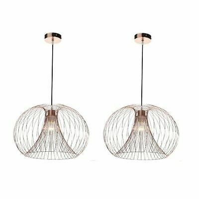 Pair (Set Of 2) Modern Copper Wire Ceiling Pendant Chandelier Light Shade • 78.99£