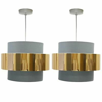 Pair Of Modern Ceiling Light Shade Easy Fit Pendants Grey With Copper Design • 19.99£