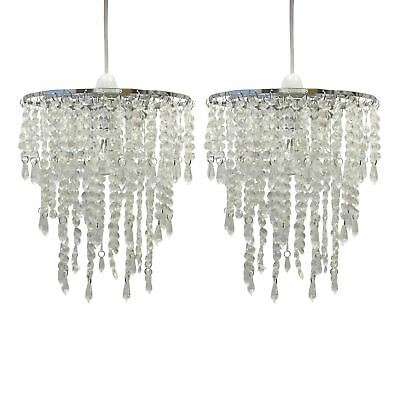 Set Of 2 Clear Jewelled Easy Fit Ceiling Light Shade Girls Bedroom Nursery • 19.99£