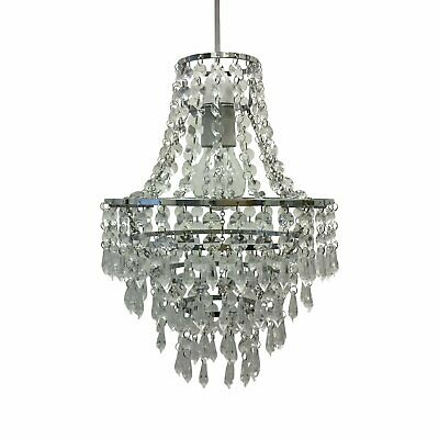 £21.99 • Buy Chandelier Style Easy Fit Ceiling Light Shade Jewelled Lampshade Pendant