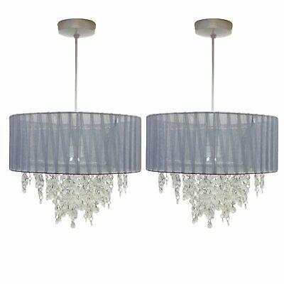 Set Of 2 Grey Ceiling Light Shades Modern Easy Fit Pendant Lightshades • 37.99£
