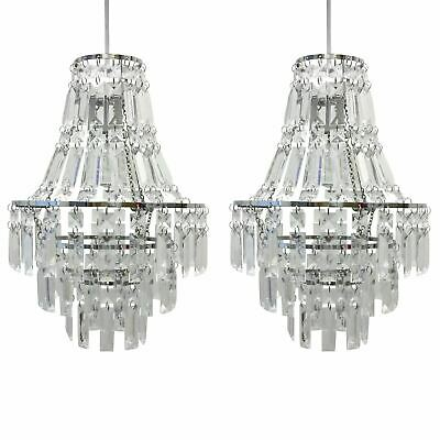 Set Of 2 Contemporary Acrylic Crystal Ceiling Light Shade Easy Fit Chandeliers • 37.99£