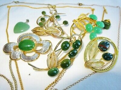 $ CDN58 • Buy Very Nice VINTAGE Lot Of All JADE Jewelry Pins Brooches Necklaces 10 Pcs