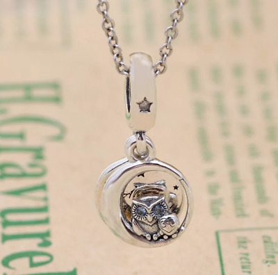 Always By Your Side Owl Dangle Charm Bead Pendant 925 Sterling Silver Mother Son • 11.67£