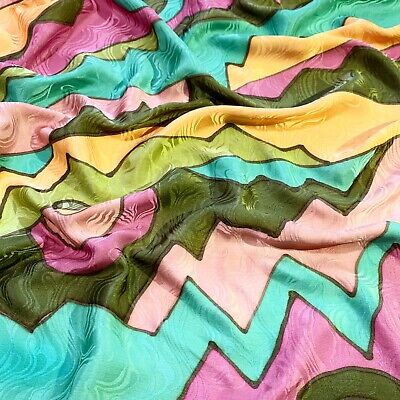 $4 • Buy GEOMETRIC PRINTED Multi Color Silk Scarf GOOD CD Square 34 In Made In CHINA