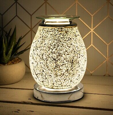 £18.99 • Buy Silver Mosaic Desire Aroma Electric Touch Lamp Wax Melt And Oil Burner