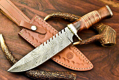 $5.61 • Buy Rare!!! Custom Hand Forged Damascus Bowie Blade Hunting Knife   Stacked Leather