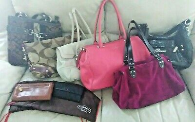 $69 • Buy Lot Of 6 Handbags / Purse 3 Coach, (2 Kate Spade 1 New), Guess, 2 Coach Wallets