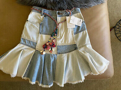 $41.94 • Buy Zimmermann Edie Patchwork Denim Skirt 1 RRP 375,- New With Tags
