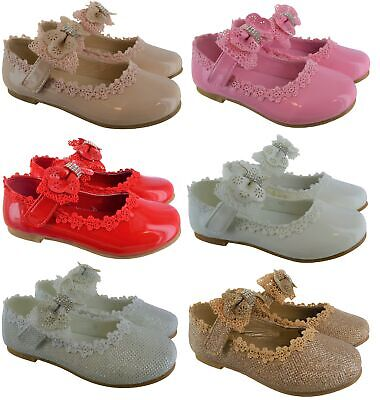 Kids Girls Childrens Shiny Patent Bow Diamante Party Wedding Flat Shoes Size 8-2 • 11.99£