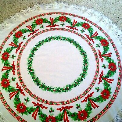 $ CDN33.32 • Buy Vintage Fringed Round Christmas Tablecloth 66 Inch Diameter Holly Poinsettias
