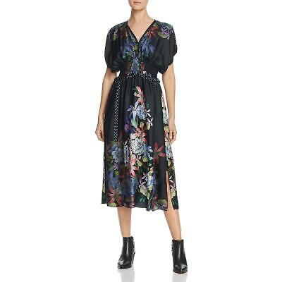 $100.99 • Buy Johnny Was Womens Kelly Black Silk Floral Kimono Sleeves Midi Dress M BHFO 6532