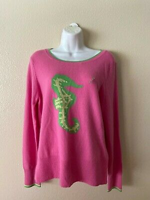 $34.99 • Buy LILLY PULITZER CASHMERE SWEATER -  PINK & GREEN SEAHORSE  Size L