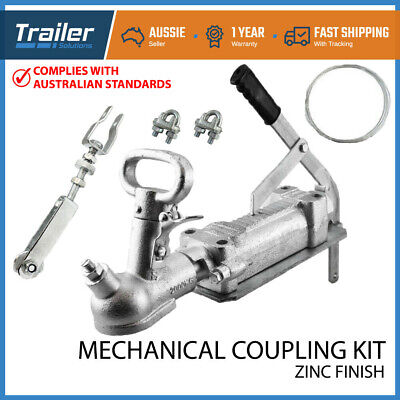 AU90.95 • Buy 2T 50mm Trailer Override Coupling Brake Cable Kit Rated Hitch Mechanical Caravan