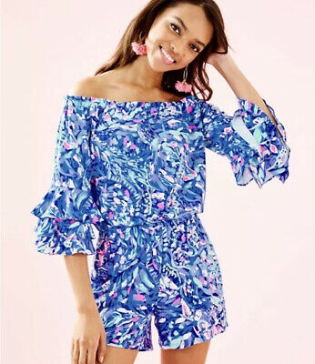 $59.99 • Buy Lilly Pulitzer Calla Off The Shoulder Romper, Size S, Super Cute-Sold Out!