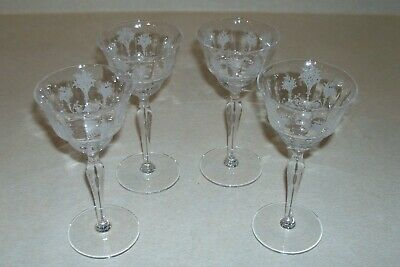$7.99 • Buy Four (4) Etched Morgantown Glass  Mayfair  6  Wine Glasses