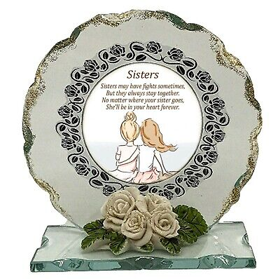 £29 • Buy Sister Poem Cut Glass Plaque Gift For ANY Occasions