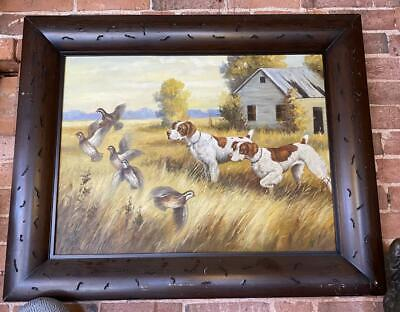 £299 • Buy Hand Painted Oil Painting In Frame - Gun Dogs Hunting Birds - 103cm X 83cm