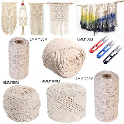AU18.55 • Buy AU 2/3/4/5/6mm Cotton Macrame Rope Natural Beige Twisted Cord Hand Craft