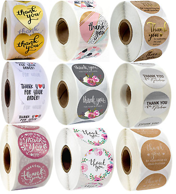 Thank You Stickers For Your Purchase Business Labels Round Heart Wedding 25mm • 3.29£