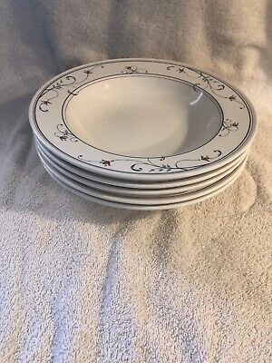 $19.95 • Buy Mikasa China Annette Intaglio CAC20 5 Flat Soup Bowls 9¼ Inches NICE