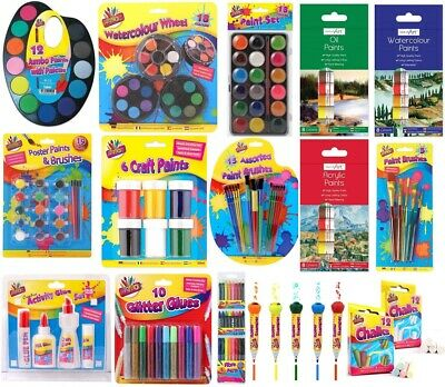 Childrens Paint Pots Glitter Glue Colouring Pencils Chalk Kids Arts & Crafts Set • 4.99£