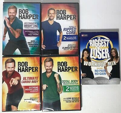 Lot Of 4 New Bob Harper Workouts & 1 Open - Biggest Loser Workout Mix • 32.19£