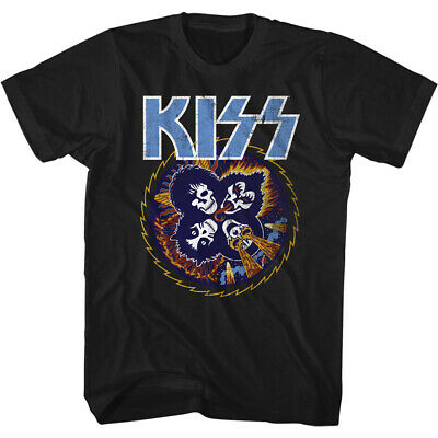 $29.99 • Buy Kiss Music Band T-Shirt Skull Circle Rock And Roll Official Black Cotton New Tee