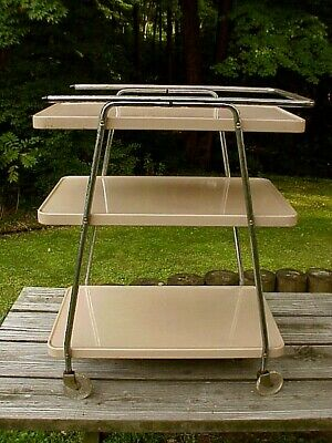 $95 • Buy Mid Century Atomic Jetsons COSCO 3-TIER ROLLING CART In TAN Bulleted Rail Points
