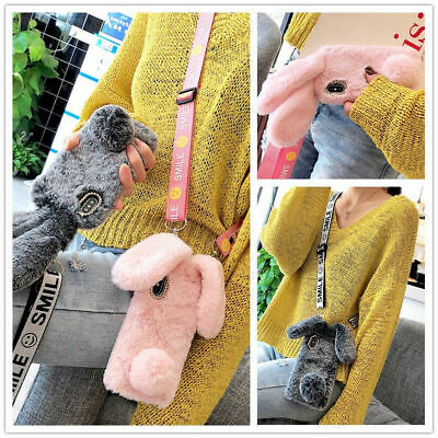 AU16.29 • Buy For IPhone Samsung Girl's Rabbit Fur Fluffy Plush Bling Soft Cases Cover+ Strap