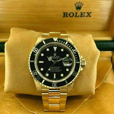 $ CDN29868.03 • Buy Vintage Rolex 40MM Solid 18K Yellow Gold Black Submariner Date Ref 16808 1984