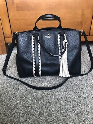 $ CDN229 • Buy Kate Spade Black Cream Leather Woven Large Satchel Crossbody