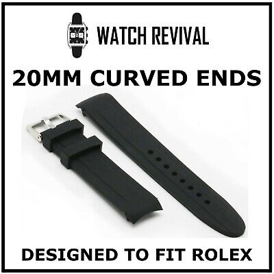 20mm High Quality Silicone Rubber Strap Designed For Rolex Submariner Curved End • 14£