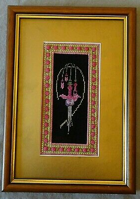 Finished Vintage Cross Stitch Picture Fuchsia  Complete With Frame & Gold Mount • 9.99£