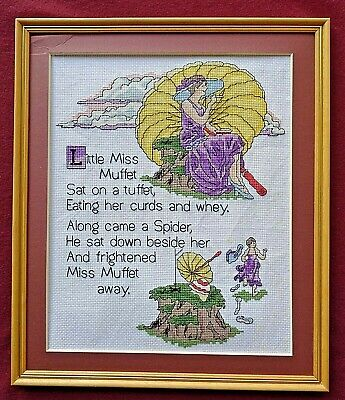 Finished Vintage Cross Stitch Little Miss Muffet Sampler Complete With Frame • 6.99£