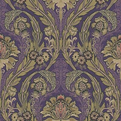 Damask Peel And Stick Wallpaper Purple And Gold Removable Vinyl Waterproof  • 54.26£