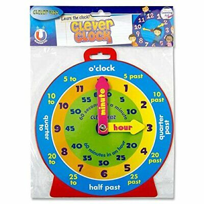 £3.45 • Buy Children Teaching Clock Learning To Tell Time Magnetic Back Educational Clock