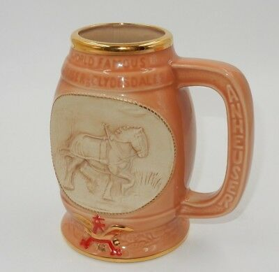 $ CDN25.42 • Buy Vtg 1992 Jim Beam World Famous Clydesdale Budweiser Wagon & Horse Peach Stein!!