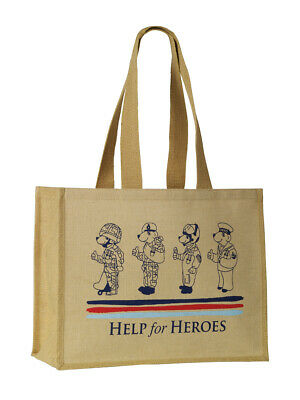 £4 • Buy Help For Heroes Natural Juco Jute Reusable Shopping Bag With Bear Print