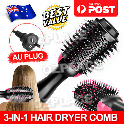 AU38.95 • Buy 3-in-1 Hot Air Style Curler Hair Dryer Styling Roll Hair Brush Comb Hairdryer AU