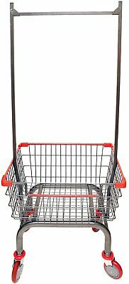 $119.99 • Buy Commercial Laundry Cart Basket Heavy Duty Wheel Rolling With Double Pole Rack