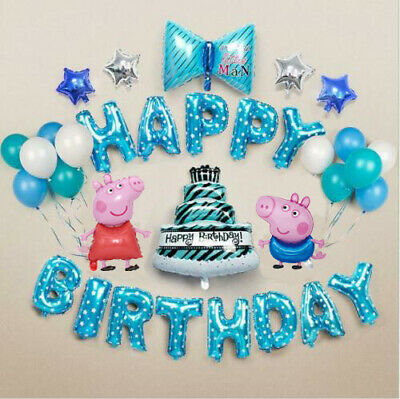 Large Peppa George Pig Set Balloon Birthday Party Foil Air Fill Balloons • 14.99£