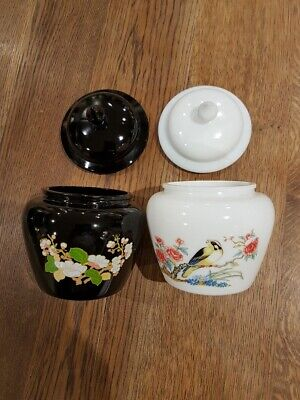 2 Vintage Avon Glass Jars With Lids (black Glass And Milk Glass- Decorated) • 12.50£