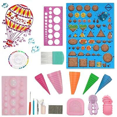 £11.59 • Buy 18Pc Quilling Paper Rolling Kit Slotted Tools Tweezer Ruler Template Paper Craft
