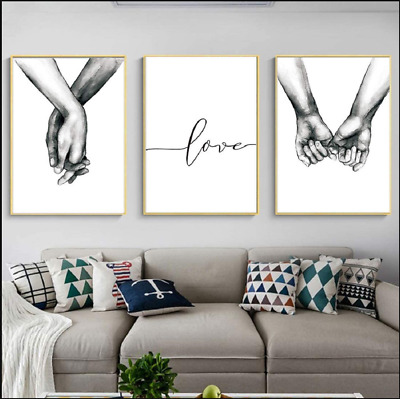$31.99 • Buy Love And Hand In Hand Wall Art Canvas Print Poster Black And White Sketch 3pcs