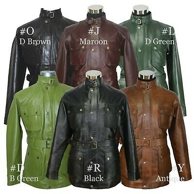 $262.07 • Buy Leather Jacket Men Panther Vintage Antique Brown Waxed Nappa Distress Military