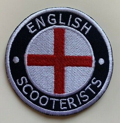 English Scooterists England Flag St George Iron/ Sew On Embroidered MODS Patch • 1.75£
