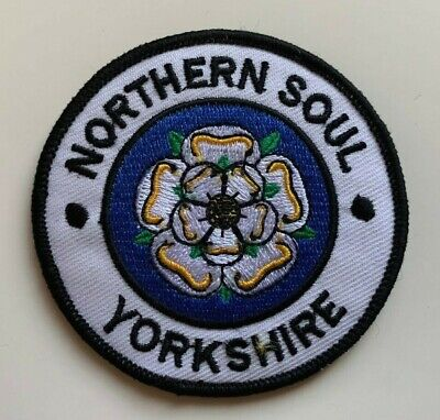 £1.99 • Buy NORTHERN SOUL Yorkshire/ WHITE FLOWER - Embroidered Iron On Patch Sew On Badge