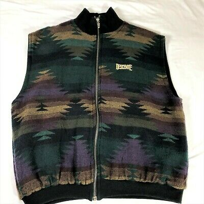 $19.99 • Buy Vintage Descente Vest Mens Large Reversible Southwestern Aztec Zip Front